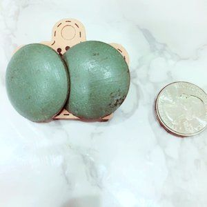 Sage Green Button Wood Earrings
